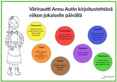 Free and printable, fun and simple writing tasks in the worksheets from the Colournauts Free Coloring Pictures, Finnish Language, Health Lessons, Quotes For Students, Getting Bored, Health Quotes, Teaching English, English Class, Primary School