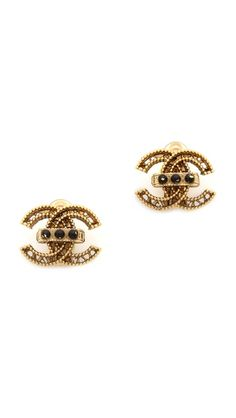 What Goes Around Comes Around Vintage Chanel Button Earrings