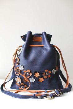 08b1bf53f304 Blue Bag, Floral Bag, Drawstring bag, Leather Pouch Bag, Floral Crossbody  Bag