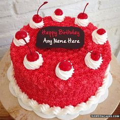 Cool Cherry Decorated Happy Birthday Cake For Friends