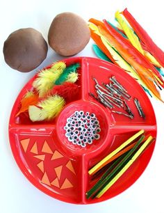 Turkey Play Dough Fine Motor Activity...can easily modify to make a snowman fine motor playdough center as well