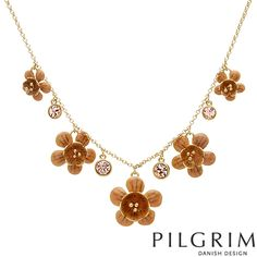 Lovely necklace by PILGRIM #flowers #necklace Pilgrim, Danish Design, Gold Necklace, Crystals, Elegant, Flowers, Jewelry, Classy, Gold Pendant Necklace