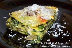 Lasagna cu spanac, leurdă, ciuperci și Gorgonzola Meatless Recipes, Spanakopita, Ricotta, Lasagna, Sushi, Sandwiches, Ethnic Recipes, Food, Lasagne