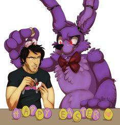 Happy bunny season! by xNIR0x on DeviantArt AHHH!!! :D I love that Bonnie is putting a Tiny Box Tim egg and a Warfstache egg(s) on Mark's head!!