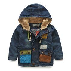 2014 winter pocket of paragraph boys clothing baby child plus velvet thickening denim outerwear wt 3516