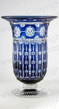 VINTAGE c.1930s VAL ST. LAMBERT BLUE OVERLAY CRYSTAL ANTAR VASE BY JOSEPH SIMON. This item is sold. To visit my website to see what's in stock click here: http://www.richardhoppe.co.uk or for help or information email us here: info@richardhoppe.co.uk