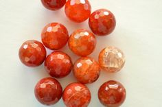 Large Burnt Orange Fire Agate Stone Beads 16mm 4 by TheBeadBandit, $3.99