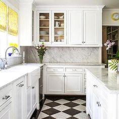 White and Black Harlequin Kitchen Floors