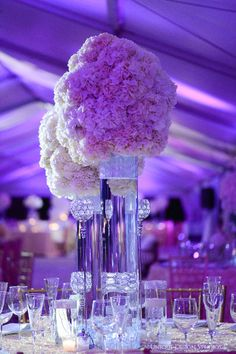 Bling centerpieces with white hydrangea from Dominique & Dawan Landry's wedding. Wedding and design by Tiffany Cook Events
