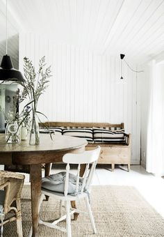 Wood panelled walls and ceiling; vintage timber furniture Modern Rustic Style In A Danish Summer House Scandinavian Living, House Design, Interior, Home, Living Room Scandinavian, House Inspiration, House Interior, Eclectic Dining Room, Interior Design