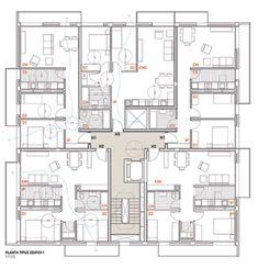 MIRAG Millet Ramoneda, Jordi Surroca · Social housing in Sentmenat Plan Hotel, Hotel Floor Plan, Social Housing Architecture, Architecture Résidentielle, The Plan, How To Plan, Building Layout, Building Plans, Residential Building Plan