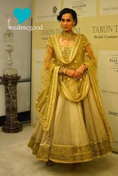Tarun Tahiliani, Gold anarkali, regal, all gold, bridal gold anarkali,