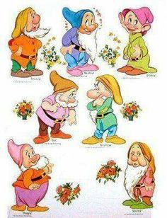 Snow White & The 7 Dwarfs - (CL for 11 dolls & clothes) Disney Love, Disney Magic, Disney Art, Paper Toys, Paper Crafts, Disney Paper Dolls, 7 Dwarfs, Disney Dwarfs, Vintage Paper Dolls