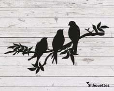 SVG 3 birds on a branch silhouette Vector file for cricut Silhouette Cameo, Vogel Silhouette, Silhouette Painting, Silhouette Vector, Silhouette Design, Cricut, Three Birds Tattoo, Silhouettes, Bird Stencil
