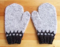 Icelandic Mittens Hand Knit with Light Grey Lopi by Waysofwoodfolk