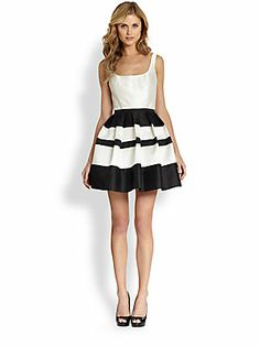 ABS Striped-Skirt+Satin+Dress