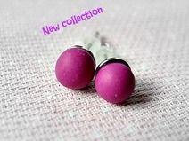 Orecchini Pallina  in fimo colore Violetto