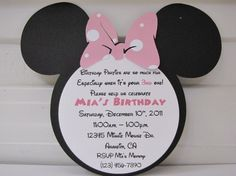 20 Personalized Minnie Mouse Birthday Invitation With pink and white polka dot and Number on Back with 20 Envelopes