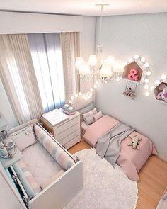 Smart Nursery Ideas: Sharing a Room with Baby Shared Room Kinderzimmer Ideen Baby Bedroom, Baby Room Decor, Girls Bedroom, Bedroom Decor, Bedroom Ideas, Nursery Decor, Room Baby, Trendy Bedroom, Sister Room