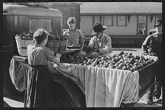 Selling apples, Jacksonville, Texas. October, 1939. Photographer Russell Lee. Many tried apple-selling to avoid the shame of panhandling. In New York City, there were over 5,000 apple sellers on the street. wem
