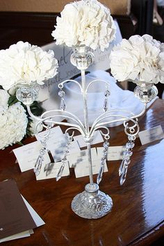 Ivory Wedding paper flowers instead of candles...