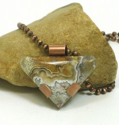 Crazy Lace Agate Triangular Shaped Cabochon With Copper Pendant    BDJDesigns - Jewelry on ArtFire