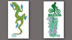 FLIP diseños en pareja - FLIP designs couple ; ) - Escher lizard - verde bicicleta, nube de palabras sobre los placeres del ciclismo