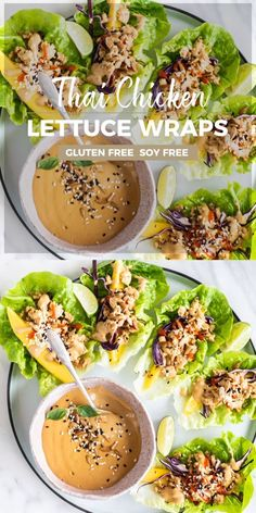 Jun 2019 - These Thai Chicken Lettuce Wraps are sure to be your new favorite lunch! A spicy ginger and shallot chicken mixture is layered on to crisp lettuce with mango, crunchy cabbage, and a creamy and spicy SunButter sauce (similar to a peanut sauce! Healthy Chicken Recipes, Healthy Dinner Recipes, Paleo Recipes, Asian Recipes, Healthy Chicken Wraps, Recipes With Ginger, Paleo Wraps, Superfood Recipes, Heart Healthy Recipes