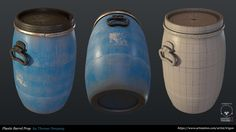 PBR Plastic Barrel Prop made with Max and Substance Painter. Prop Design, Game Design, Polygon Modeling, 3d Modeling, Coffee Shop Furniture, Hard Surface Modeling, Game Props, Prop Making, Low Poly 3d Models