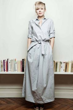 // ankle-length shirt dress in cool silver. heart stopped for just a sec.