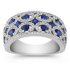 Shane & Co ~ Round Sapphire and Diamond Ring