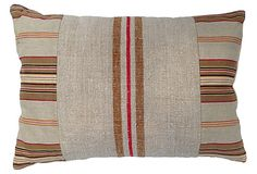 One Kings Lane - Home for the Holidays - French Ticking & Grainsack Pillow