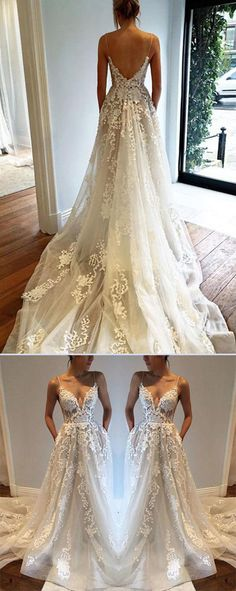 Sexy Open Back Spaghetti Straps V-neck Beach Wedding Dresses with Sweep Train #Beachweddingdress