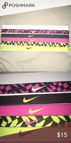 Nike Headbands 5 nike headbands, multicolored pink & black one has been worn once, but is like brand new. The rest have never been worn. Accepting offers. thanks(:  (smoke free home)  Nike Accessories Hair Accessories