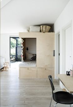 Homemade alcove in Danish summer house Delightful and light living room, nordic interior style with