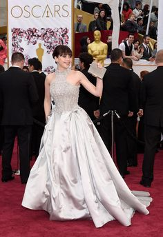 Felicity Jones in Alexander McQueen. Photo: Jason Merritt/Getty Images.