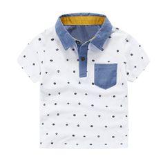 Boys Short Sleeve Shirt with Turn down Collar