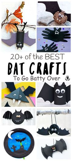 BEST BAT CRAFTS FOR KIDS - Here are 20+ best bat crafts to go totally batty over! Cute bats, paper plate bats, up-side-down bats, bat bookmarks, we've got them all and more! Great fun for Autumn, Winter and Halloween crafts.