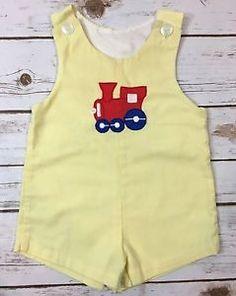 Vintage Samara Baby Boy 12-18M Yellow Train Jon-Jon Shortall One-Piece Romper  | eBay