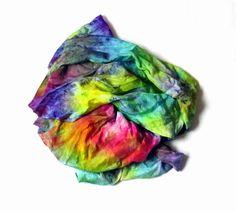 Silk scarf ruffled Hand Dyed Shibori scarf Coral by Econicashop
