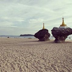 Ngwe Saung Beach is the second beach closest to Yangon and known for its Twin Rock Stupas. More at http://www.myanmartravelessentials.com/beaches/ngwe-saung-beach/#Ngwesaung #Beach #Sunset #Coast #Sea #TwinRockStupas #Myanmar