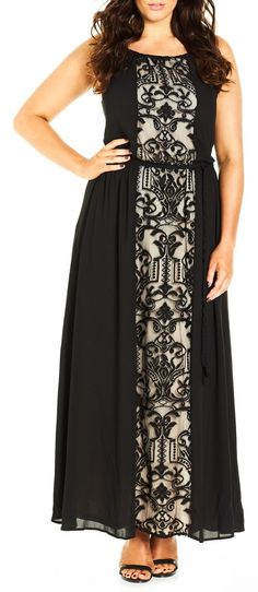 Plus Size Romantic A-Line Maxi Dress