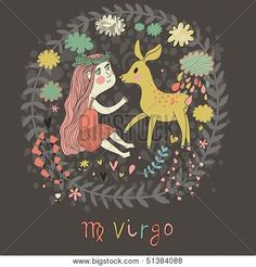 Picture or Photo of Cute zodiac sign - Virgo. Vector illustration. Little beautiful girl with long hair playing with lovely fawn with in the clouds and flowers. Doodle hand-drawn style in dark colors