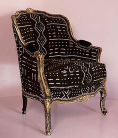 Inspiration for African home decor and interior design! See more ideas about African interior, African interior design and African home decor. Home Design, Design Ideas, Design Patterns, African Home Decor, African Mud Cloth, African Fabric, African Textiles, Upholstered Chairs, Wingback Chairs