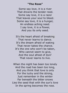 Bette Midler - The Rose - 1980 Writer: Amanda McBroom Album=The Rose Song Lyrics. One of my favorite songs of all time! Janis Joplin, I Love Music, Love Songs, The Rose Song, Lyric Quotes, Life Quotes, Wisdom Quotes, Great Song Lyrics, A To Z Lyrics