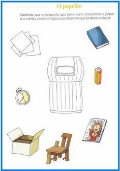Wat hoort bij het oud papier? / AS NOSSAS PARTILHAS Sistema Solar, Preschool Lessons, Recycling Bins, Pre School, Teaching, Crafts, Terra, Google Search, Literacy Activities
