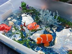 Lots of great sensory Bin themes on this page. Keep in mind the age child before choosing small parts
