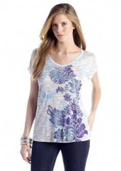 New Directions Weekend  Printed Lace Back Top