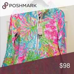 Size M Lover's Coral Popover NWT Brand new!! Perfect condition! Smoke-free cat-friendly home Lilly Pulitzer Tops Sweatshirts & Hoodies