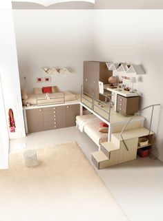 Kinderzimmer Hochbett Beige Schubladen Heller Teppich Ausgefallene  Wandregale